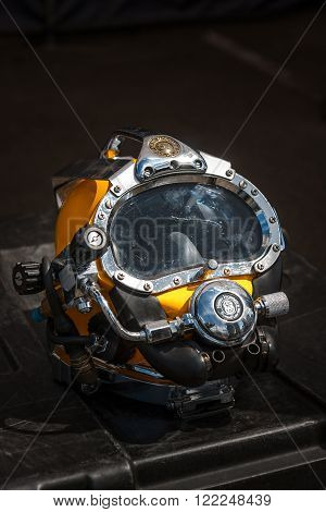 WARSAW POLAND - MAY 08 2015: Kirby Morgan 37 Diving Helmet for diving in biologically contaminated water.. Public celebrations of 70th Anniversary of End of World War II