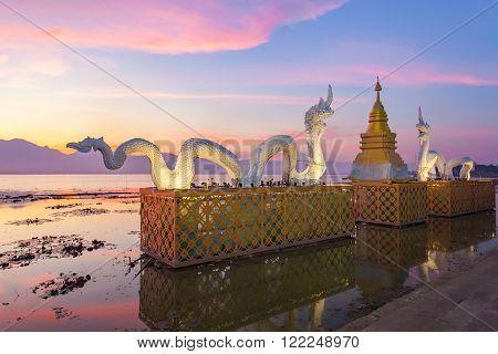 Beautiful sunset sky at Phayao lake Thailand