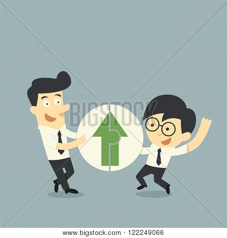 Businessman hold Jigsaw of arrows up cartoon concept