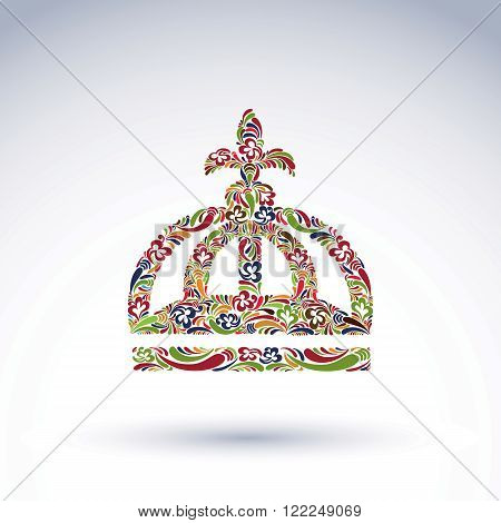 Elegant flower-patterned bright crown with Christianity cross emperor accessory. Royal and spiritual art vector design element isolated on white background.