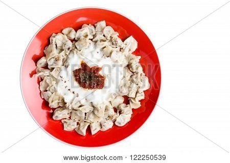 Plate Of Fresh Homemade Turkish Manti Dumplings
