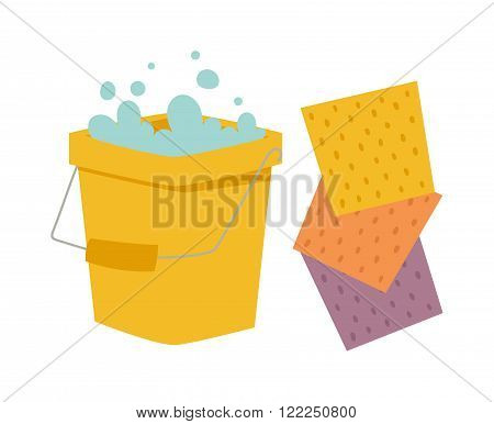 Yellow cleaning bucket with green cloth, cleaning bucket house sanitary equipment vector - bucket and cloth for cleaning housework flat vector illustration isolated on white.