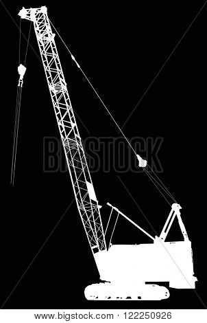 illustration with industrial movable crane isolated on black background