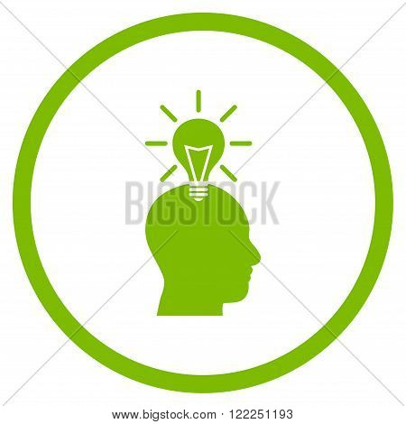 Genius Bulb vector icon. Image style is a flat icon symbol inside a circle, eco green color, white background.