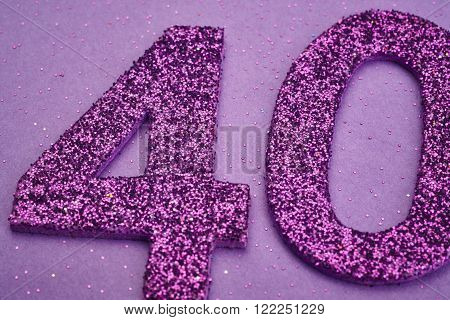 Number forty purple color over a purple background. Anniversary. Horizontal