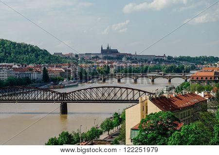 River Vltava With Bridges In Prague, Czech Republic