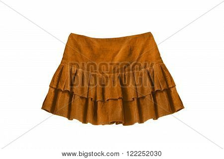 Velvet yellow mini skirt isolated over white