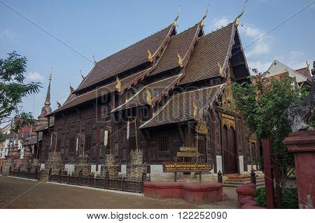 Chiang Mai, Thailand - 30 july, 2010: Wooden Wat Pan Tao temple Chiang Mai Thailand