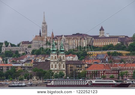 River Danube embankment Matthias Church and Fisherman Bastion.Budapest Hungary