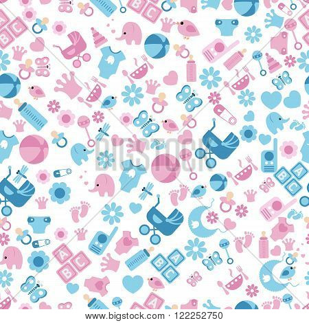 Seamless Baby Background for Baby Shower. Vector seamless baby and pregnancy pattern.