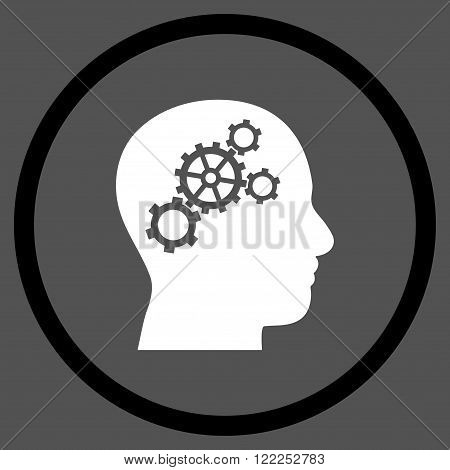 Brain Preferences vector bicolor icon. Picture style is flat brain gears rounded icon drawn with black and white colors on a gray background.