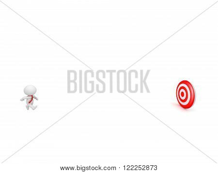 3D character wearing red tie running toward a red bulls eye target. Isolated on white background.