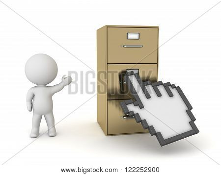 3D character showing a large archiving cabinet with a hand click cursor over it. Isolated on white background.