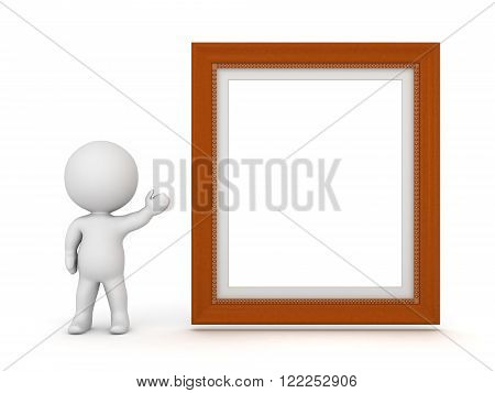 3D charcter showing a large decorated diploma frame. Isolated on white background.
