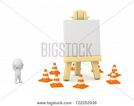 3D character showing an artsy easel surrounded by orange cones. Creative block concept. Isolated on white background.