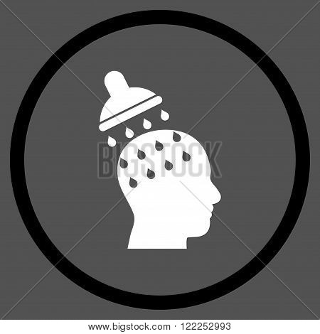 Brain Washing vector bicolor icon. Picture style is flat brain washing rounded icon drawn with black and white colors on a gray background.