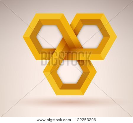 Abstract golden geometrical cubic shape with three options