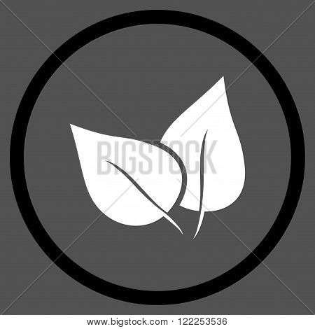 Flora Plant vector bicolor icon. Picture style is flat flora plant rounded icon drawn with black and white colors on a gray background.
