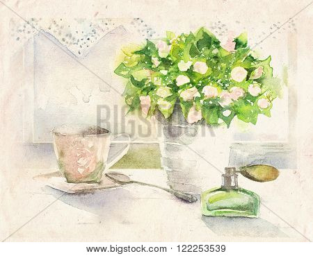 Watercolor illustration of a sunny still life with bouquet of flowers