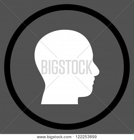 Head Profile vector bicolor icon. Picture style is flat head profile rounded icon drawn with black and white colors on a gray background.