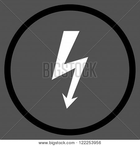 High Voltage vector bicolor icon. Picture style is flat high voltage rounded icon drawn with black and white colors on a gray background.