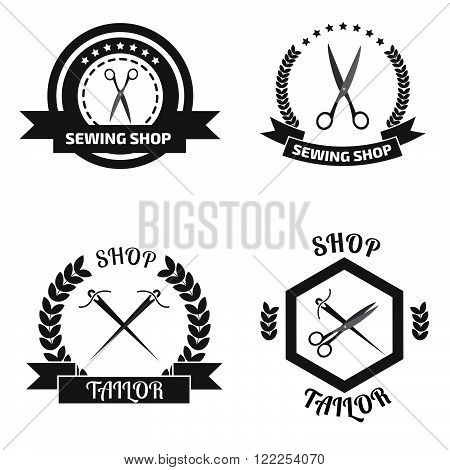 Set of tailor logo labels, emblems. Tailor shop theme. Tailor shop logo