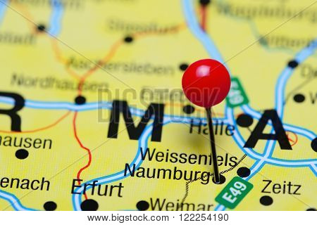 Photo of pinned Naumburg on a map of Germany. May be used as illustration for traveling theme.