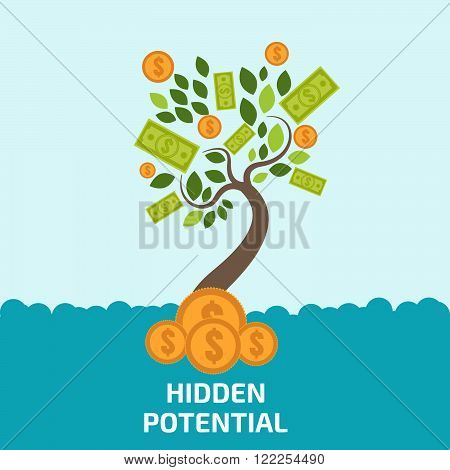 Hidden Potential Concept. New Business Model. New Business Project Start Up. Money Tree Vector.