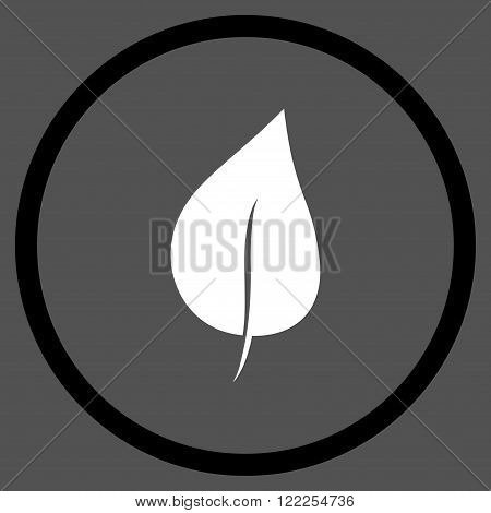 Plant Leaf vector bicolor icon. Picture style is flat plant leaf rounded icon drawn with black and white colors on a gray background.