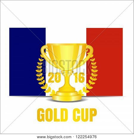 Trophy cup with laurel wreath 2016. Stock vector. Vector illustration.
