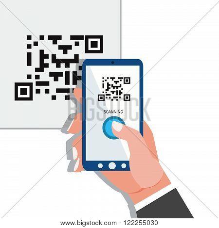 Capture QR code. Phone in hands. Stock vector. Vector illustration.