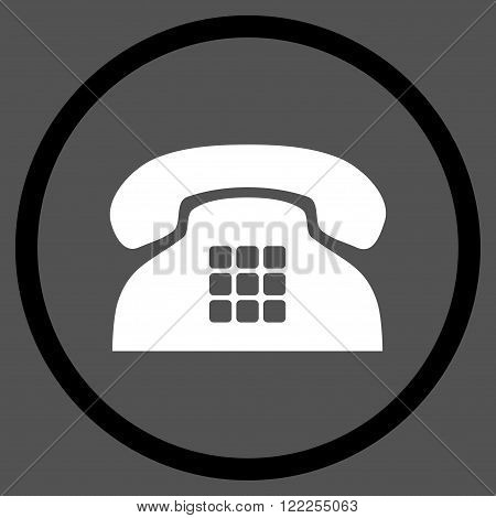 Tone Phone vector bicolor icon. Picture style is flat tone phone rounded icon drawn with black and white colors on a gray background.