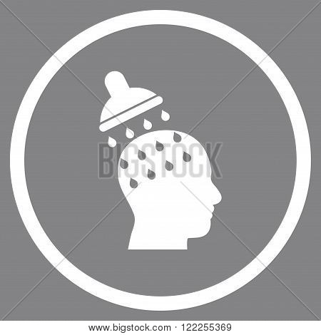 Brain Washing vector icon. Picture style is flat brain washing rounded icon drawn with white color on a gray background.