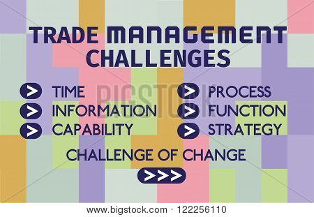 Business Typography Concept Trade Management Challenges Time Process Information Function Capability Strategy Change. Geometrical Background. Template for biz web design. Vector illustration