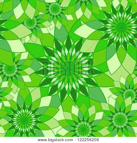 Seamless pattern with bright green floral guilloche. Seamless guilloche pattern. Seamless floral pattern. Green seamless background. Guilloche design line art pattern. Vector illustration