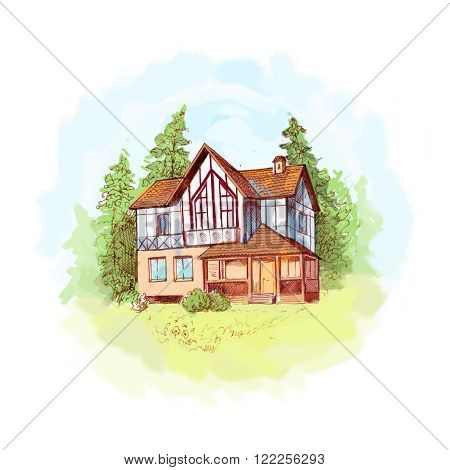 Hand drawn sketch of two-storey house with lawn and trees. Illustration of house in alpine style. Brown ink drawing light colors like watercolor style. Suit for postcard background for site about out-of-town living etc.