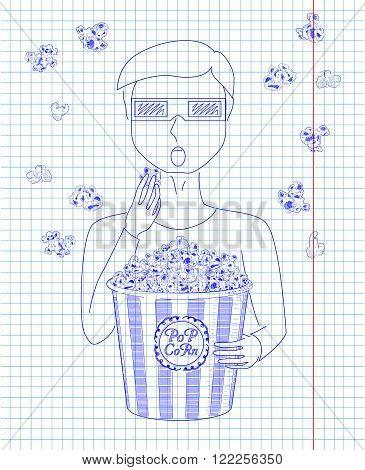 Man In 3D Glasses Eating Delicious Popcorn From A Big Striped Carton  Box.