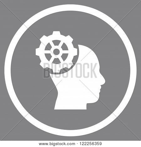 Head Gear vector icon. Picture style is flat head gear rounded icon drawn with white color on a gray background.