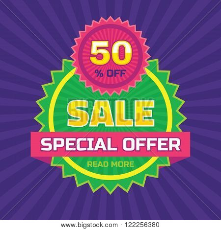 Sale abstract vector banner - special offer 50% off. Sale vector banner. Sale abstract background. Super big sale design layout. Sale banner template.
