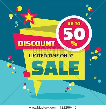 Sale abstract vector origami banner - discount up to 50%. Sale vector banner. Sale abstract background. Super big sale design layout. Origami discount banner. Limited time only! Sale banner template.