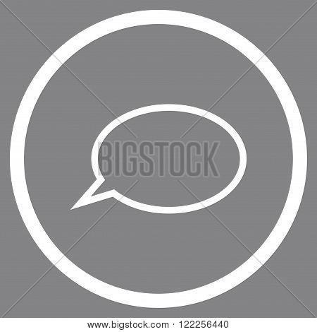 Hint Cloud vector icon. Picture style is flat hint cloud rounded icon drawn with white color on a gray background.