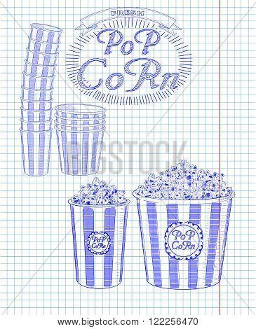 Beautiful Big And Small Striped Carton Box Full Of Delicious & Fresh Popcorn. Stack Of Small & Big P