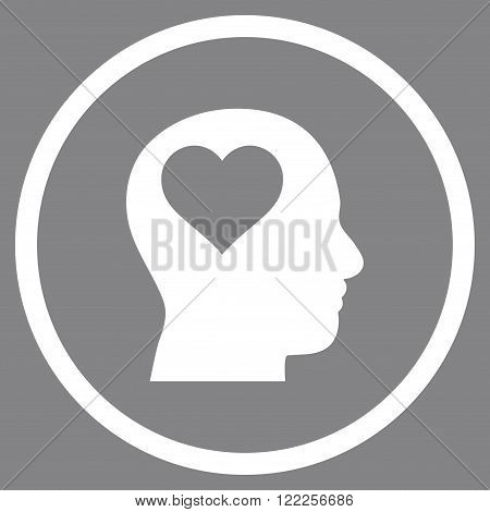 Lover Head vector icon. Picture style is flat lover head rounded icon drawn with white color on a gray background.