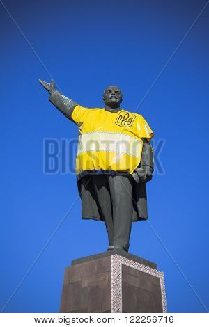 a monument to Vladimir Lenin on which laughing opponents of communism. Ukraine, the city Zaprozhe Avenue Lenin.