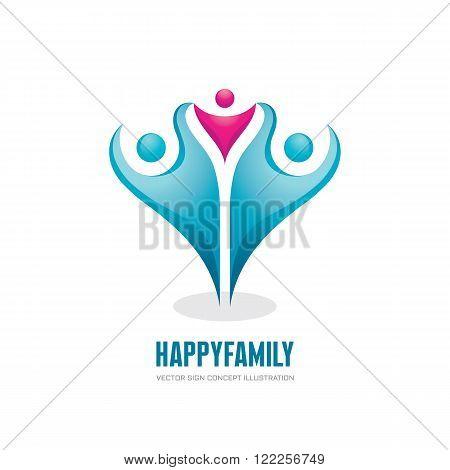 Happy family - abstract figures - vector logo concept illustration. People group logo sign. Social media logo symbol. Teamwork sign. Friendship logo sign. Vector logo template. Design elements.