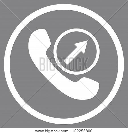 Outgoing Call vector icon. Picture style is flat outgoing call rounded icon drawn with white color on a gray background.
