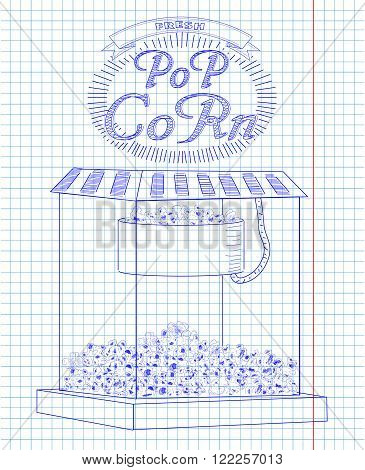 Beautiful Popcorn Machine With Fresh Delicious Popcorn & Vintage Inscription.