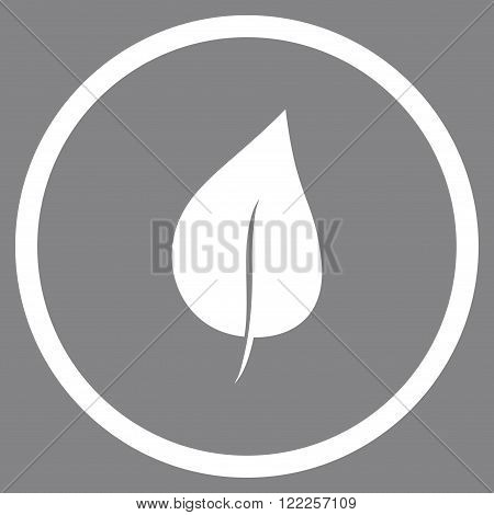 Plant Leaf vector icon. Picture style is flat plant leaf rounded icon drawn with white color on a gray background.