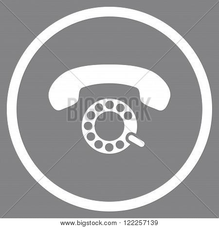 Pulse Dialing vector icon. Picture style is flat pulse dialing rounded icon drawn with white color on a gray background.