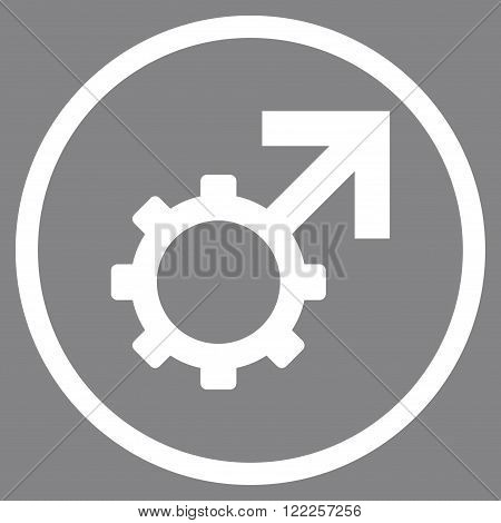 Technological Potence vector icon. Picture style is flat technological potence rounded icon drawn with white color on a gray background.